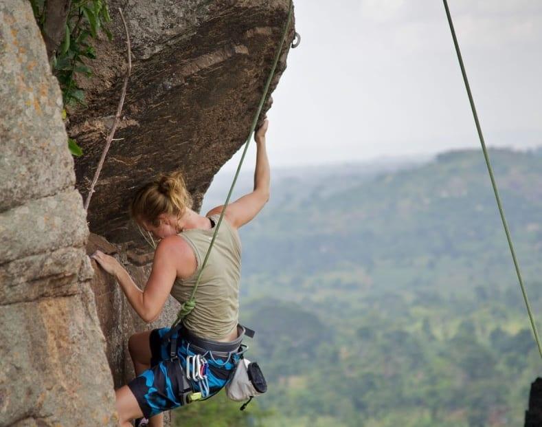 Rock climbing Mt. Elgon.
